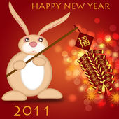 Happy Chinese New Year 2011 Rabbit Holding Firecrackers — Stock Photo