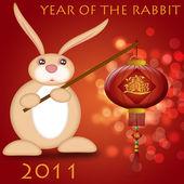 幸せな中国の新年 2011年ウサギ ランタンを保持 — ストック写真