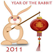 Happy Chinese New Year 2011 Rabbit Holding Lantern — Stock Photo