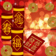 Chinese New Year Firecrackers with Gold Coins — Stock Photo