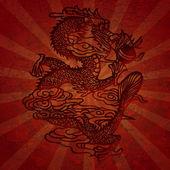 Papier schneiden-asiatischer Drache mit Grunge Texturen — Stockfoto