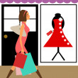 Woman Shopper Walking in Boutique Store — Stockfoto