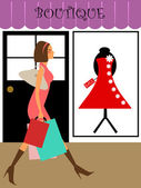 Woman Shopper Walking in Boutique Store — Stock Photo