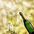 Champagne Bottle and Two Glasses Bokeh Background — Stock Photo