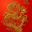 Chinese Dragon Paper Cutting Gold on Red Background - 图库照片