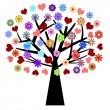 Stock Photo: Valentines Day Tree with Love Birds Hearts Flowers