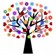 Valentines Day Tree with Love Birds Hearts Flowers — ストック写真