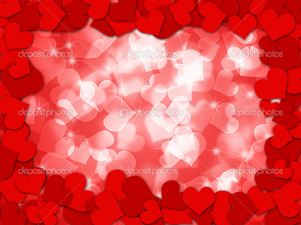Happy Valentines Day Hearts Border Bokeh Background Illustration  Stock Photo #4830376