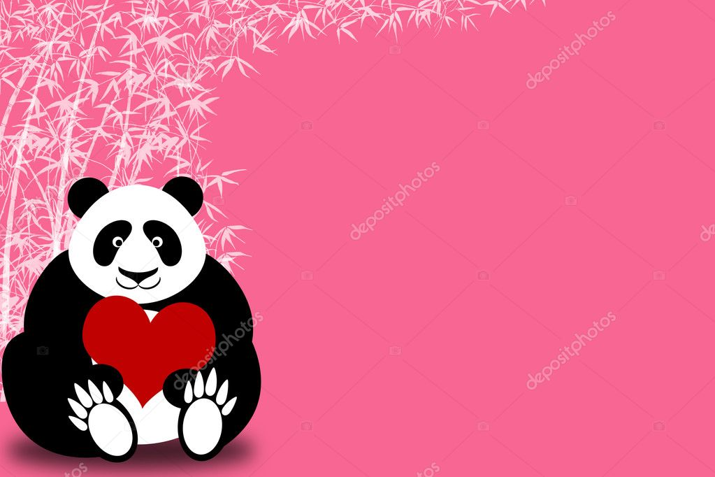 Happy Valentines Day Panda Bear Holding Heart with Bamboo Illustration — Stock Photo #4846055