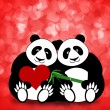 Happy Valentines Day Panda Couple Hearts Bokeh — Stock Photo