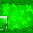 Shamrock Leaves Border Glass of Beer for St Patricks Day — Stock Photo #4861031