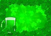 Shamrock Leaves Border Glass of Beer for St Patricks Day — Stock Photo