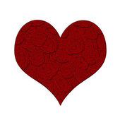 Valentines Day Heart with Red Roses Pattern — Stock Photo