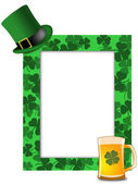 St Patricks Day Leprechaun Hat Beer Shamrock Frame — Stock Photo