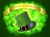 St Patricks Day Leprechaun Hat Banner Shamrock — Stock Photo