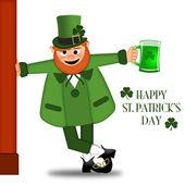 Happy St Patricks Day Leprechaun Drinking Beer — Stock Photo