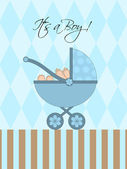 Its A Boy Blue Baby Pram — Stock Photo