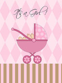 Its A Girl Pink Baby Pram — Stockfoto