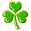 Shimmering Green Shamrock with Gold Trim — Stock Photo