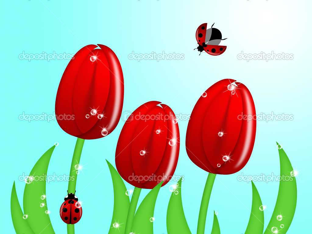Red Ladybug Climbing Up Tulip Flower Stem Illustration — Stock Photo #4952150