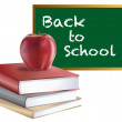 Stock Photo: Classroom Back to School Chalkboard Books and Apple