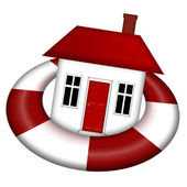 House Afloat on Lifesaver — Stock Photo