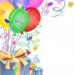 Stock Photo: Balloons with Confetti and Presents for Birthday Party