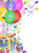 Balloons with Confetti and Presents for Birthday Party — Stock Photo