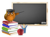 Classroom with Chalkboard Books Pens and Apple — Stock Photo