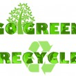 Stock Photo: Go Green Recycle Logo with World Map