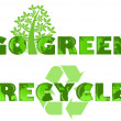 Go Green Recycle Logo with World Map — Stock Photo