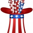 Stock Photo: Uncle Sam Hat with Fireworks