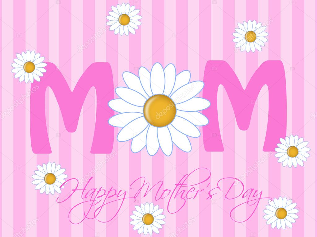 Happy Mothers Day with Daisy Flowers Pink Background Illustration — Lizenzfreies Foto #5078841