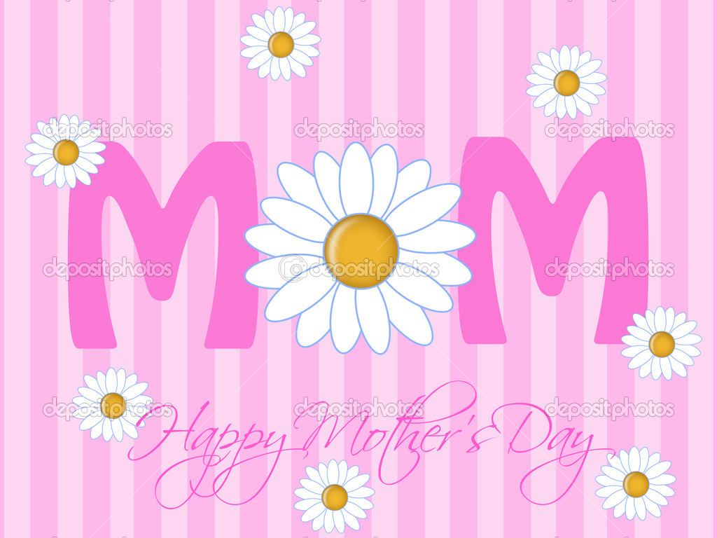 Happy Mothers Day with Daisy Flowers Pink Background Illustration — Стоковая фотография #5078841