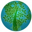 Blue Planet with Abstract Eco Tree Silhouette — Stock Photo