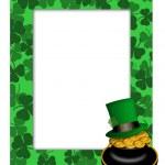 St Patricks Day Leprechaun Hat Pot of Gold Frame — Stock Photo