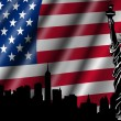 Stock Photo: USA American Flag with Statue of Liberty Skyline Silhouette