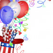 Uncle Sam Hat with Fireworks and Balloons — Stock Photo