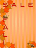 Fall Sale Sign with Maple Tree Leaves and Snails — Stock Photo