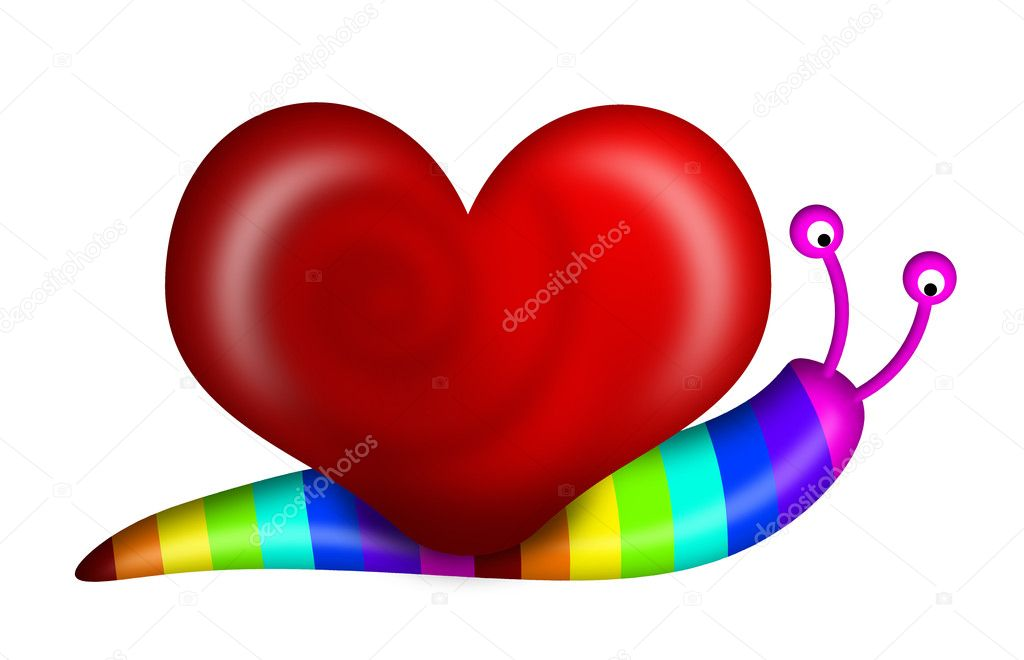 Abstract Snail with Heart Shape Shell and Rainbow Colors Illustration — Stock Photo #5113044