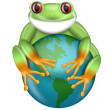 Red-Eyed Green Tree Frog Hugging Planet Earth — Stock Photo