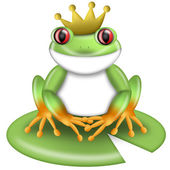Red-Eyed Green Tree Frog Prince with Crown — Stock Photo