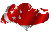 Republic of Singapore Map with Flag Silhouette — Stock Photo
