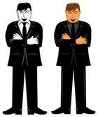 Negocios ejecutivo masculino de pie con los brazos doblados — Foto de Stock