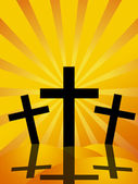 Good Friday Easter Day Crosses Sun Rays Background — Stock Photo