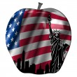 Big Apple with USA Flag and New York Skyline — Stock Photo