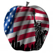 Big Apple with USA Flag and New York Skyline - Stock Photo
