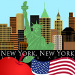 New York Skyline with Statue of Liberty Color - Stock Photo