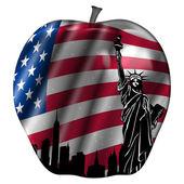 Big Apple with USA Flag and New York Skyline — Stock Photo