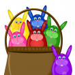 Six Colored Happy Easter Bunny Eggs in Basket - Stock Photo